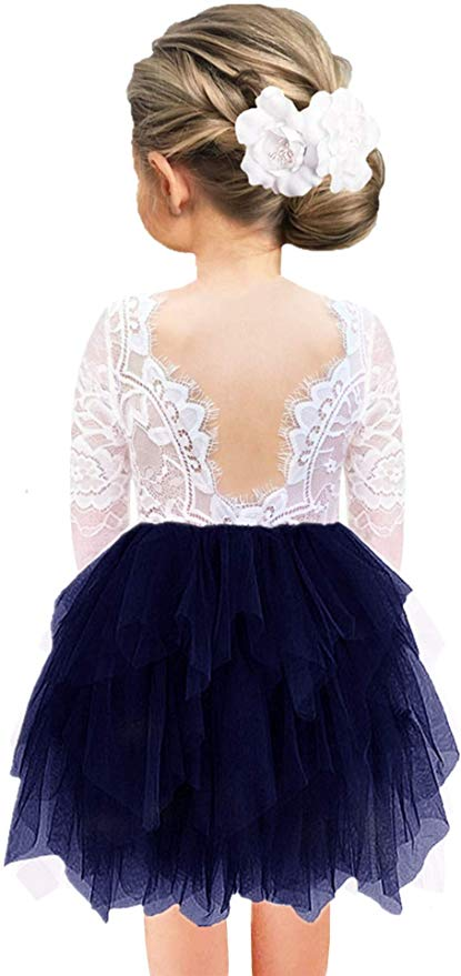 2BUNNIES Girl Rose Lace Back 3 Tiered Long Sleeve Dress (Navy)