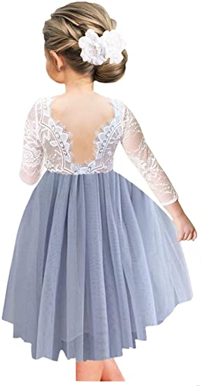 2BUNNIES Girl Rose Lace Back Long Sleeve Knee Length Straight Dress (Bluish Gray)