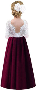 2BUNNIES Girl Rose Lace Back Long Sleeve Maxi Straight Dress (Burgundy)