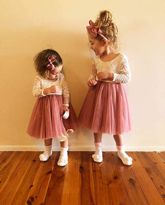 2BUNNIES Girl Rose Lace Back Long Sleeve Knee Length Straight Dress (Dusty Pink)