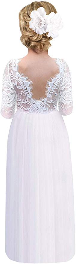2BUNNIES Girl Rose Lace Back Long Sleeve Maxi Straight Dress (White)