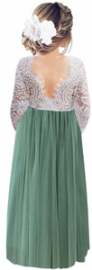 2BUNNIES Girl Peony Lace Back Long Sleeve Maxi Straight Dress (Sage)