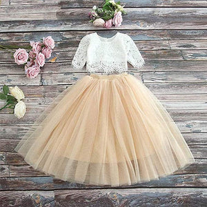 2BUNNIES Girl Dress Set Scallop Lace Long Sleeve Maxi Straight (Champagne)