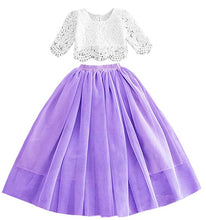 2BUNNIES Girl Dress Set Scallop Lace Long Sleeve Maxi Straight (Purple)