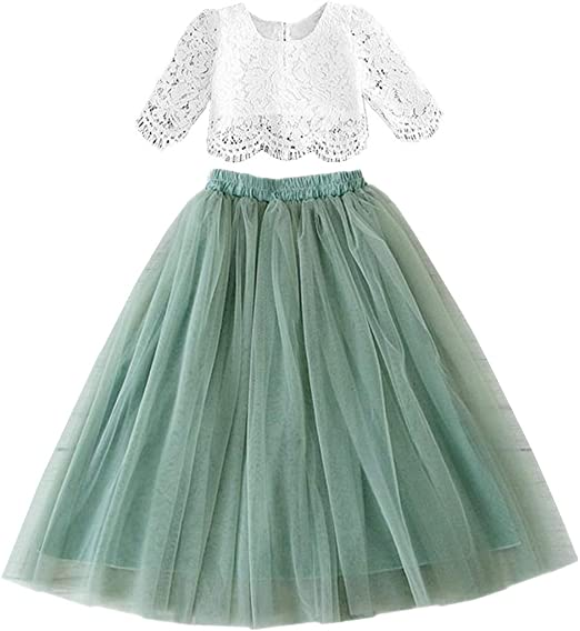 2BUNNIES Girl Dress Set Scallop Lace Long Sleeve Maxi Straight (Sage)
