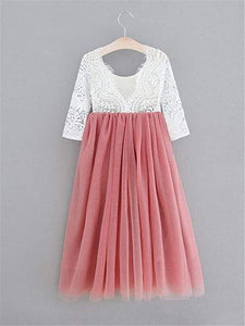 2BUNNIES Girl Peony Lace Back Long Sleeve Maxi Straight Dress (Dusty Pink)