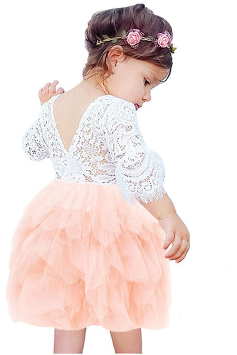 2BUNNIES Girl Peony Lace Back 3 Tiered Bell Sleeve Dress (Pink)