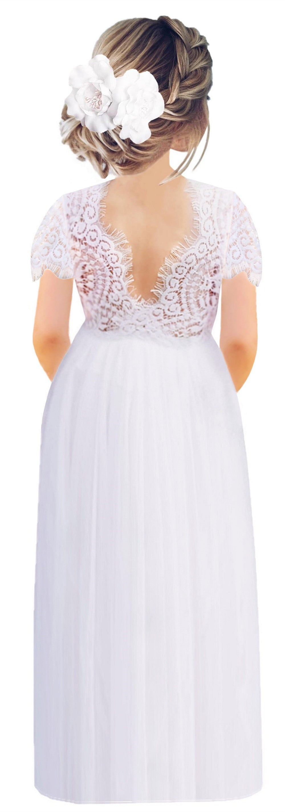 2BUNNIES Girl Peony Lace Back Short Sleeve Maxi Straight Dress (White)