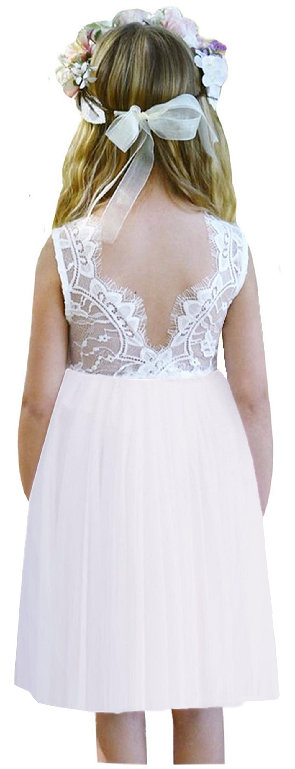 2BUNNIES Girl Rose Lace Back Sleeveless Knee Straight Dress (White)
