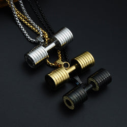 Bodybuilding Dumbbell Pendant with Necklace