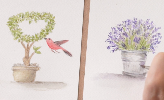 Watercolor Cards. Birds and Flowers