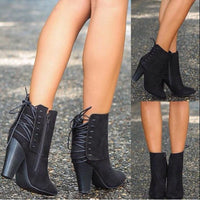 Black Lace Up Detailed Booties