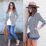 Stripe Jersey Cowl Neck Zip Jacket