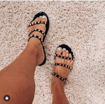 Black Comfort And Style Studded Sandals