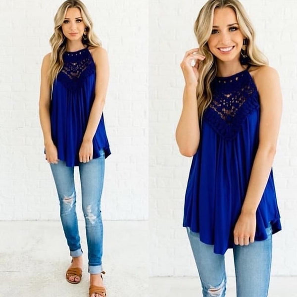 Halter Neck Blue Blouse