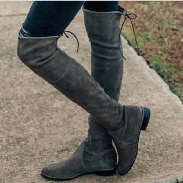 Flat Suede Over The Knee Boots
