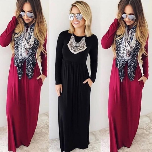 Solid Long Sleeve Maxi (Black)