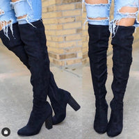 Over The Knee Suede Boots - Black
