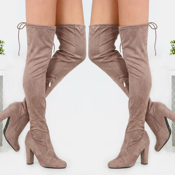 Suede Over The Knee Boots - Taupe