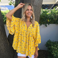 Pop Of Yellow Floral Top