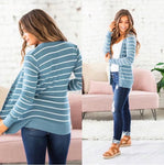 Button Down Stripe Cardigan