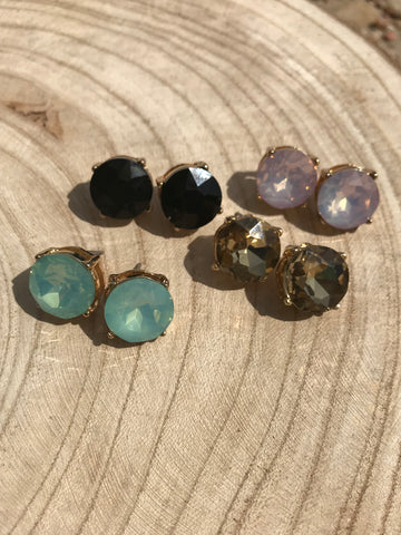 Round Gemstone Earrings