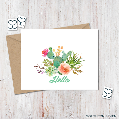 Cactus Hello Greeting Card