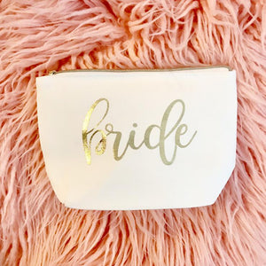 Gold Foil Bride Makeup Clutch