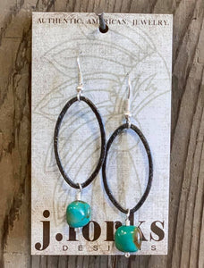 J. Forks Black Gold Oval Stone Drop Earrings