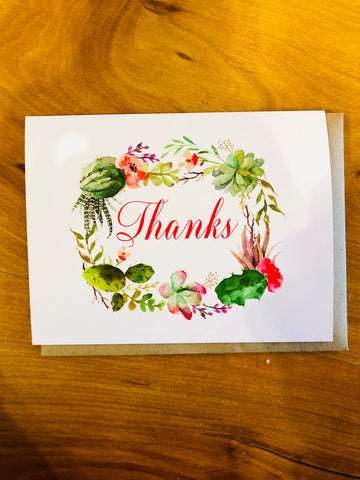 Succulent Thank You Greeting Card