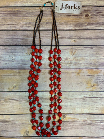 3 Strand Coral Necklace