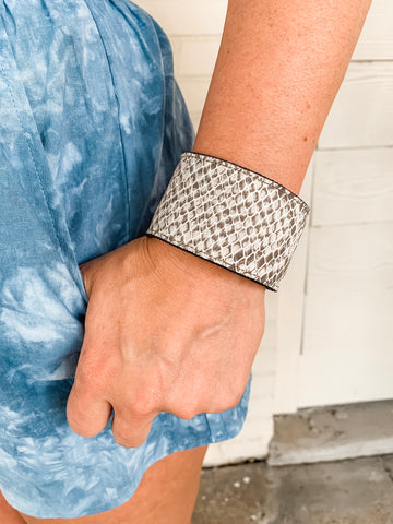 Snakeprint Leather Cuff