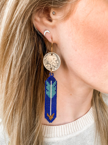 J. Forks Beaded Coin Earrings