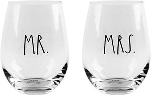 Couple's Stemless Wine Glasses