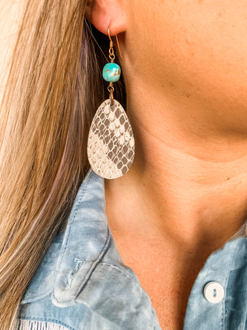 Snakeprint Leather Earrings