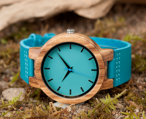 Unisex Wooden Watch with Genuine Leather Strap