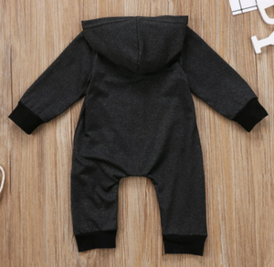 Zipped Hooded Romper with Pockets
