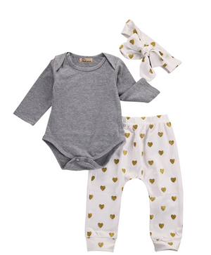 3-Piece Baby Polka Heart Outfit