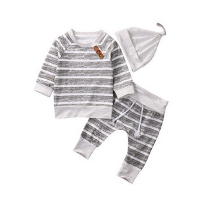 Baby 3-Piece Striped Outfit with Hat