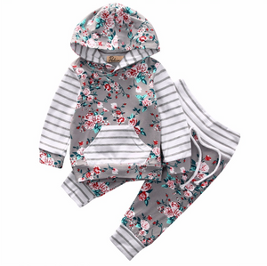 Baby 2-Piece Flower Hooded Outfit