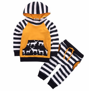 Baby/Toddler 2-Piece Striped Deer Outfit