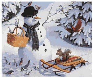 "Snowman with Animals DIY Painting By Numbers (16""x20"" / 40x50cm)"