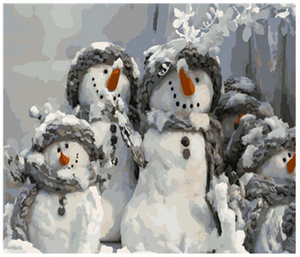 "Snowmen Painting By Numbers (16""x20"" / 40x50cm)"