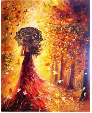 "Beautiful Woman Autumn Walk DIY Painting By Numbers (16""x20"" / 40x50cm)"
