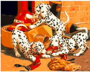 "Firehouse Dogs DIY Painting By Numbers (16""x20"" / 40x50cm)"