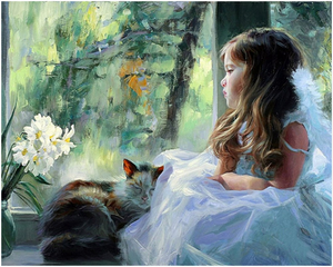 "Girl and Cat DIY Painting By Numbers (16""x20"" / 40x50cm)"