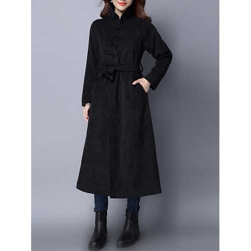 Retro Women Corduroy Long Sleeve Solid Color Belted Long Trench Coat