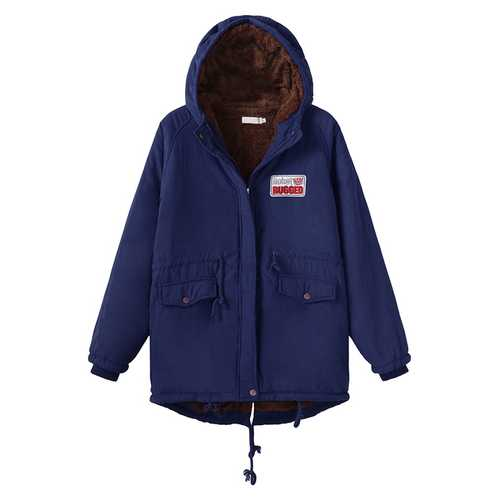 Casual Loose Pockets Zipper Fleece Hooded Coat