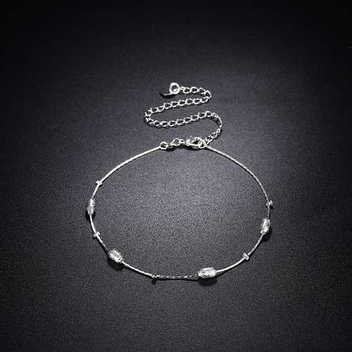 YUEYIN Silver Plated Beads Anklet Brass Foot Chain for Women