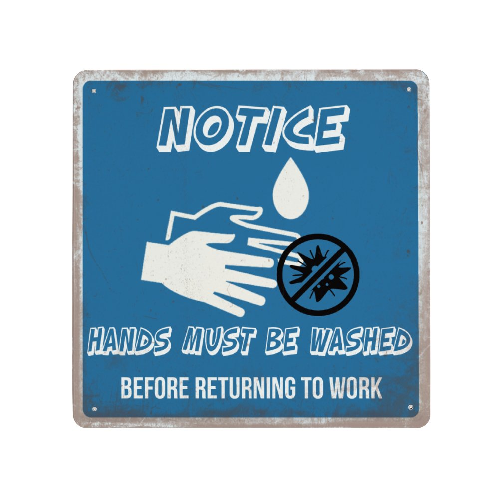 [Made in USA] NOTICE Metal Wall Sign Plaque Poster Vintage Aluminum Sheet Hanging Painting Blue